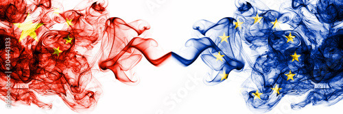 China, Chinese vs European Union, EU smoky mystic states flags placed side by side Wallpaper Mural