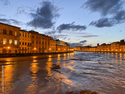 Photo Storm over Pisa, Arno River with flooding