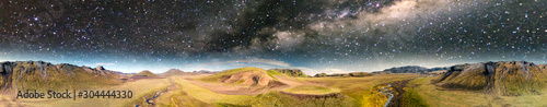 Fototapeta Amazing landscape of Landmannalaugar magnificent highlands at night in summer season, aerial view from drone, Iceland obraz