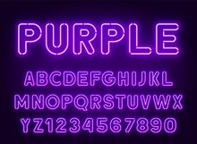 Neon Rounded Purple Font, Glowing Alphabet With Numbers. On A Dark Background.