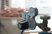 Regulator Of Nitrogen Tanks Prepared For Air Conditioning Installation