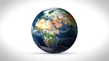 Earth Spinning White Backgroud
