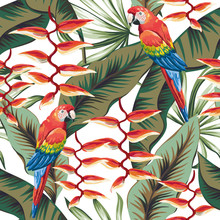 Macaw Parrots, Green Banana Palm Leaves, Red Heliconia Flowers, White Background. Vector Floral Seamless Pattern. Tropical Illustration. Exotic Plants, Birds. Summer Beach Design. Paradise Nature