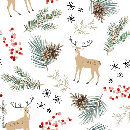 mata magnetyczna Christmas seamless pattern, white background. Forest cute deer animals, green fir, pine twigs, cones, berries, snowflakes. Vector illustration. Nature design. Season greeting. Winter Xmas holidays