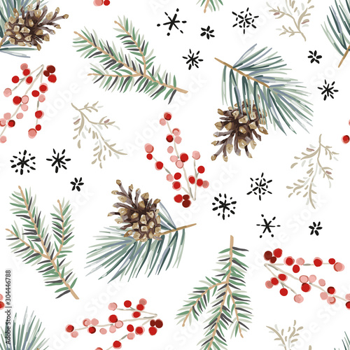 Obraz Christmas seamless pattern, white background. Forest green fir, pine twigs, cones, red berries, snowflakes. Vector illustration. Nature design. Season greeting. Winter Xmas holidays - fototapety do salonu
