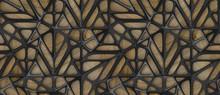 3d Black Lattice Tiles On Wooden Oak Background