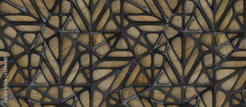 Fototapeta 3d black lattice tiles on wooden oak background obraz