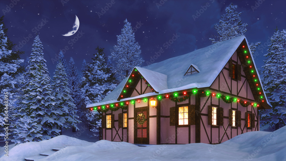 Fototapety, obrazy: Snowbound half-timbered rural house decorated for Christmas among snowy  fir forest at winter night with half moon in the starry sky. 3D illustration for Xmas or New Year holidays.