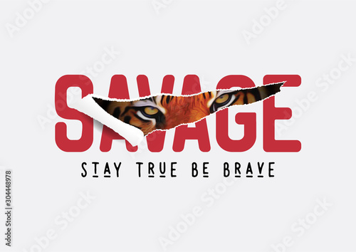 savage slogan ripped off with tiger illustration for fashion print and other use Canvas Print