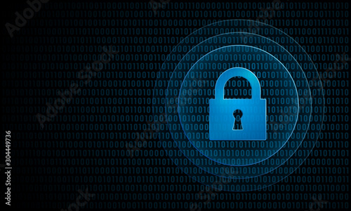 Fototapeta Digital lock with ripples ''Pulse Effect'' technology security symbol obraz