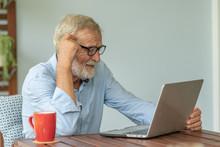 Portrait Senior Man Using Lapt...