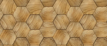 3D Wallpaper Of Wood Design Hexagon 3d Panels With Plywood Decor. Material Wood Oak. High Quality Seamless Realistic Texture.