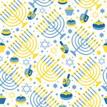 Happy Hanukkah Print Background With Menorah, David Star And . Seamless Pattern On .