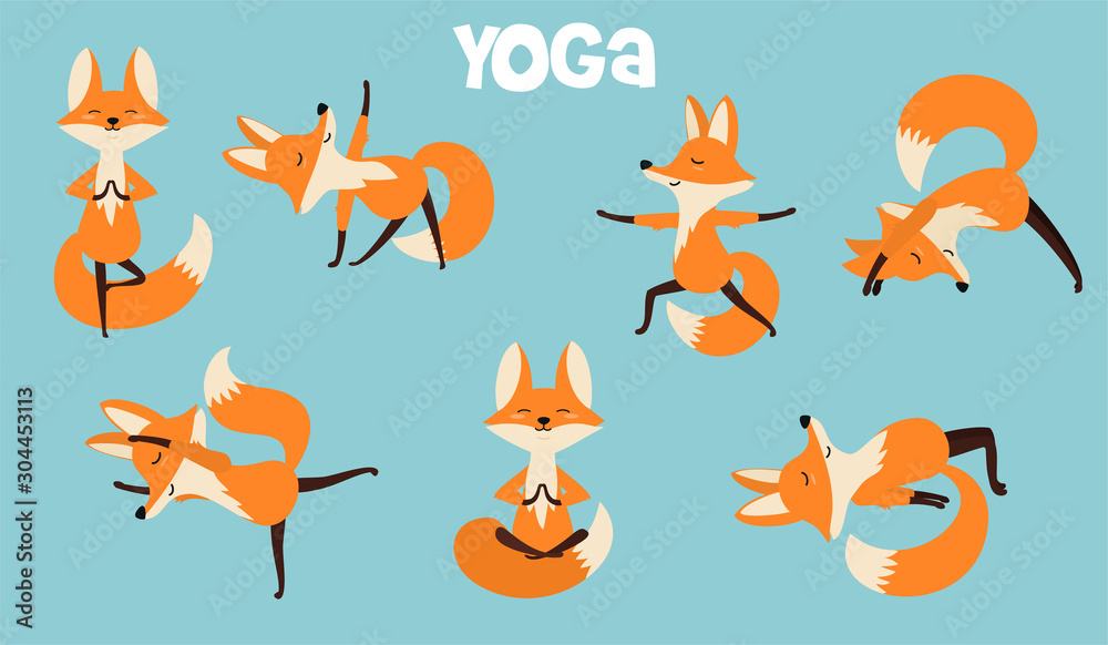 Fototapety, obrazy: Set of stylish cartoon foxes in various poses of yoga. Vector illustrations isolated on white background.
