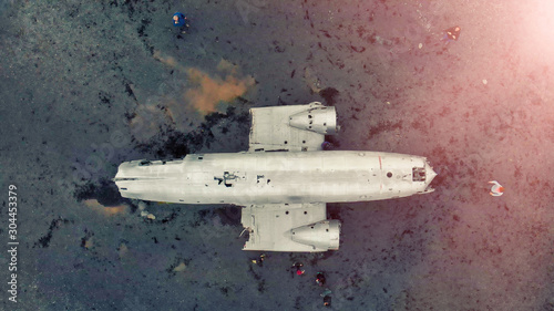 Amazing aerial view from drone of famous Airplane Wreckage in Solheimasandur Bla Wallpaper Mural