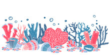 Composition With Stylized Corals In A Row. Color Cartoon Hand Drawn Vector Illustration