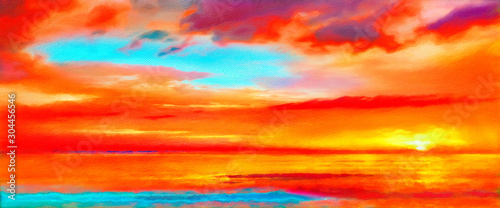 Foto auf AluDibond Rot Abstract Scarlet Sunset Painting Seascape Canvas Art