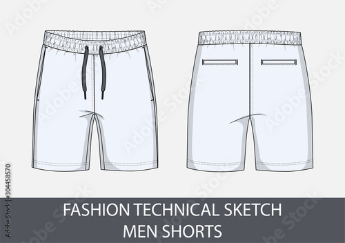 Valokuvatapetti Fashion technical drawing sketch for men shorts in vector graphic