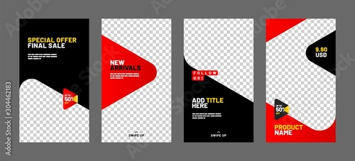 Fototapeta Editable post template set for banner sale, presentation, flyer, poster, invitation, stories, streaming