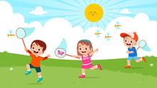Happy Cute Kids Boy And Girl Catch Bug