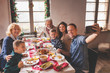 canvas print picture Family taking a selfe at Christmas dinner