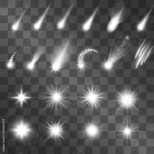 Obraz na plátně Vector silver sparkle light effect, meteorites, shooting stars