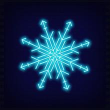Neon Snowflake. Retro Bright Signboard, Light Banner For Christmas Design On Brick Wall Background. Fluorescent Vector Illustration.