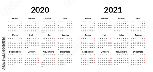 Spanish calendar 2020 2021 design template. Vector stationery