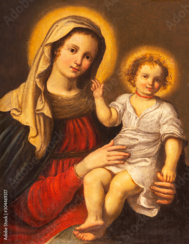 PARMA, ITALY - APRIL 17, 2018: The detail of Madonna in church Chiesa di Santa Lucia by master of Parma school from first half of 17. cent.
