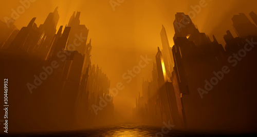 Printed kitchen splashbacks Brown Sci Fi city abandoned landscape. Dark street house yellow fog smoke fire. Abstract concept background. 3D rendering