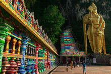 Batu Caves Entrance With Bright Colour Steps In Kuala Lumpar