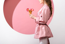 Cropped View Of Woman Holding Ice Cream Cone With Flowers On White And Pink