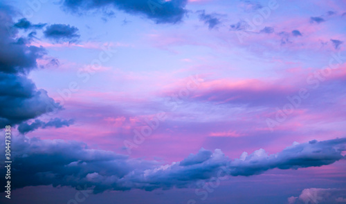 Photo Pink-blue sunset clouds