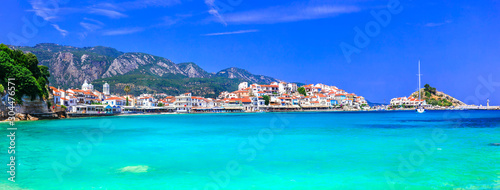 Photo Stands Turquoise Most beautiful traditional villages of Greece - Kokkari in Samos island. crystal sea and taverns