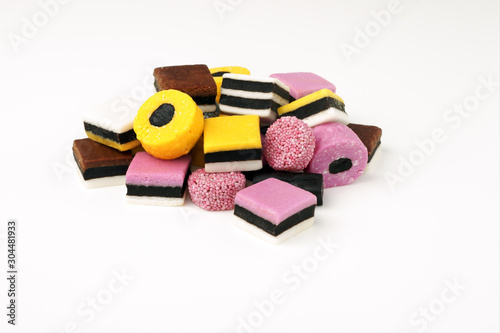 Assorted liquorice and fondant candies or sweets Canvas Print