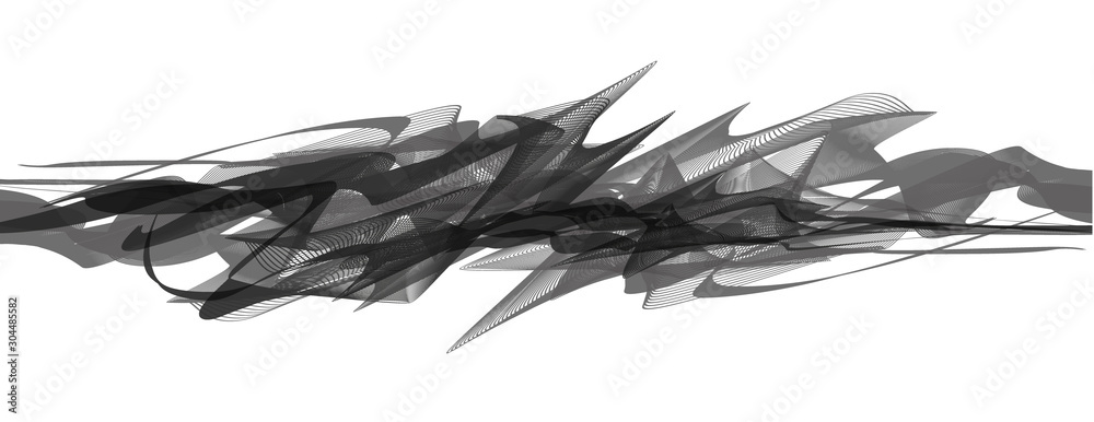 Fototapeta Abstract spiky black and white Sound Wave background,Earthquake wave diagram concept; design for education and science; Vector Illustration.