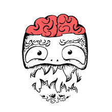 Zombie Head. Vector Art Illust...