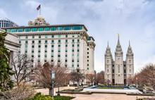 Joseph Smith Memorial Building And Salt Lake Temple In Salt Lake City, Utah