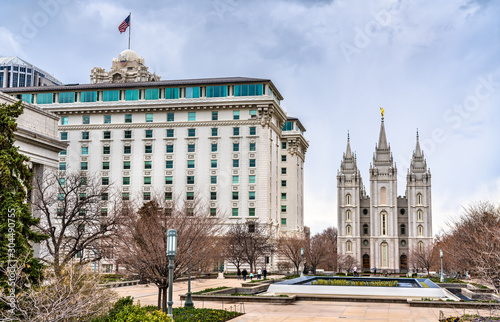 Tela Joseph Smith Memorial Building and Salt Lake Temple in Salt Lake City, Utah