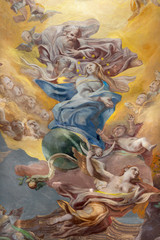 Panel Szklany Do kościoła COMO, ITALY - MAY 8, 2015: The fresco of Assumption of Virgin Mary in church Santuario del Santissimo Crocifisso.