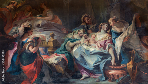 COMO, ITALY - MAY 8, 2015: The Painting of Nativity of Virgin Mary  in church Santuario del Santissimo Crocifisso by Carlo Inncenzo Carloni (1687 – 1775) Canvas Print