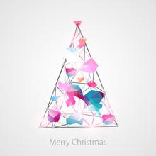 Mosaic New Year Tree. Holiday Background