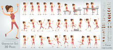 Cartoon Funny Cute Sport Girl Character In Pink Shirt And Shorts. 30 Different Poses And Face Expressions. Isolated On White Background. Big Vector Icon Set.