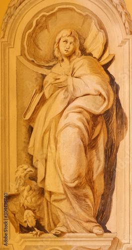 COMO, ITALY - MAY 8, 2015: The fresco of St. John the Evangelist in church Santuario del Santissimo Crocifisso.