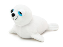 Cute Seal Doll With Big Blue Eyes Isolated On White Background With Shadow. Playful Seal On White Underlay. Plush Stuffed Puppet Toy For Children. Plaything For Kids. Furry Cute Animal.