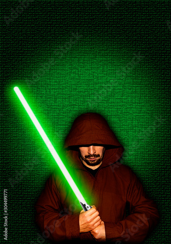 Photo Jedi warrior with green lightsaber