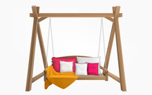 Wooden Porch Swing With Pillows And Yellow Blanket. Vector Swing Bench Furniture With Cushions For Outdoor, Garden And Patio. Comfortable Hammock Hanging On Frame Isolated On White Background