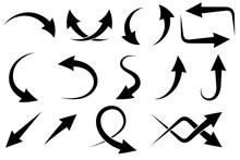 Black Arrows Set. Sharp Icons