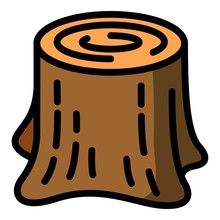 Forest Tree Stump Icon. Outlin...