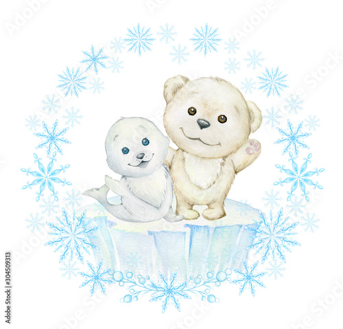 pieczec-i-bialy-niedzwiedz-na-lodzie-usmiechajac-sie